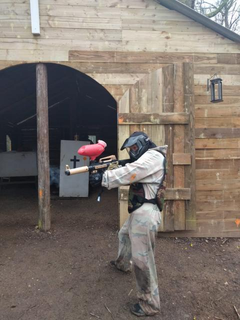 Paintball player using our new church structure
