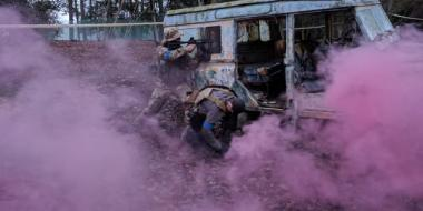 Airsoft within smoke grenade and arena